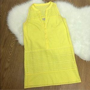 Loft Yellow eyelet dress. Size 10